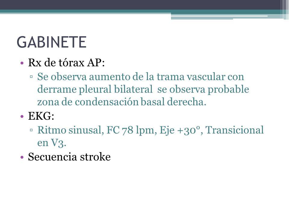 GABINETE Rx de tórax AP: Se observa aumento de la trama vascular con derrame pleural bilateral se observa probable zona de condensación basal derecha.