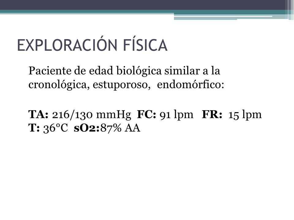 EXPLORACIÓN FÍSICA Paciente de edad biológica similar a la cronológica, estuporoso, endomórfico: TA: 216/130 mmHg FC: 91 lpm FR: 15 lpm T: 36°C sO2:87