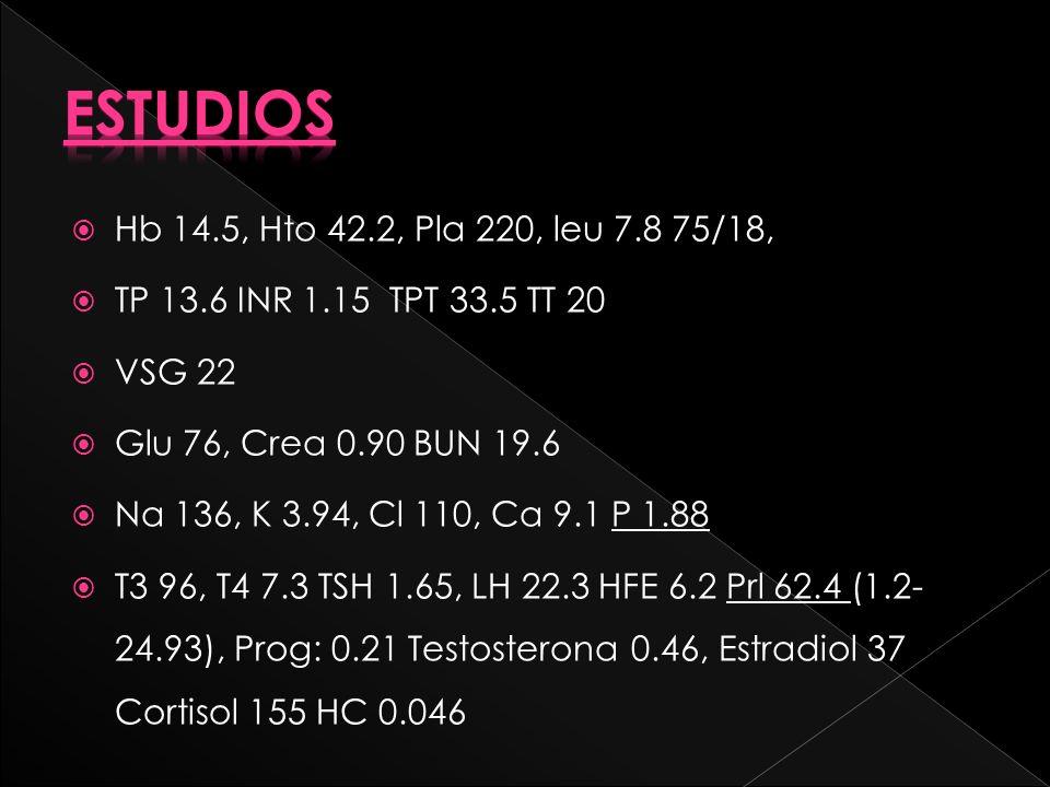 Hb 14.5, Hto 42.2, Pla 220, leu 7.8 75/18, TP 13.6 INR 1.15 TPT 33.5 TT 20 VSG 22 Glu 76, Crea 0.90 BUN 19.6 Na 136, K 3.94, Cl 110, Ca 9.1 P 1.88 T3 96, T4 7.3 TSH 1.65, LH 22.3 HFE 6.2 Prl 62.4 (1.2- 24.93), Prog: 0.21 Testosterona 0.46, Estradiol 37 Cortisol 155 HC 0.046