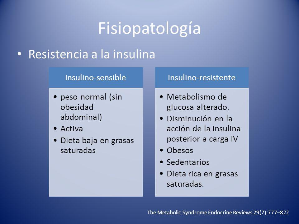 Fisiopatología Resistencia a la insulina The Metabolic Syndrome Endocrine Reviews 29(7):777–822 Insulino-sensible peso normal (sin obesidad abdominal)