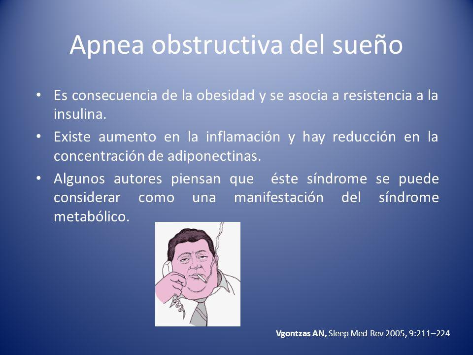 Apnea obstructiva del sueño Es consecuencia de la obesidad y se asocia a resistencia a la insulina. Existe aumento en la inflamación y hay reducción e