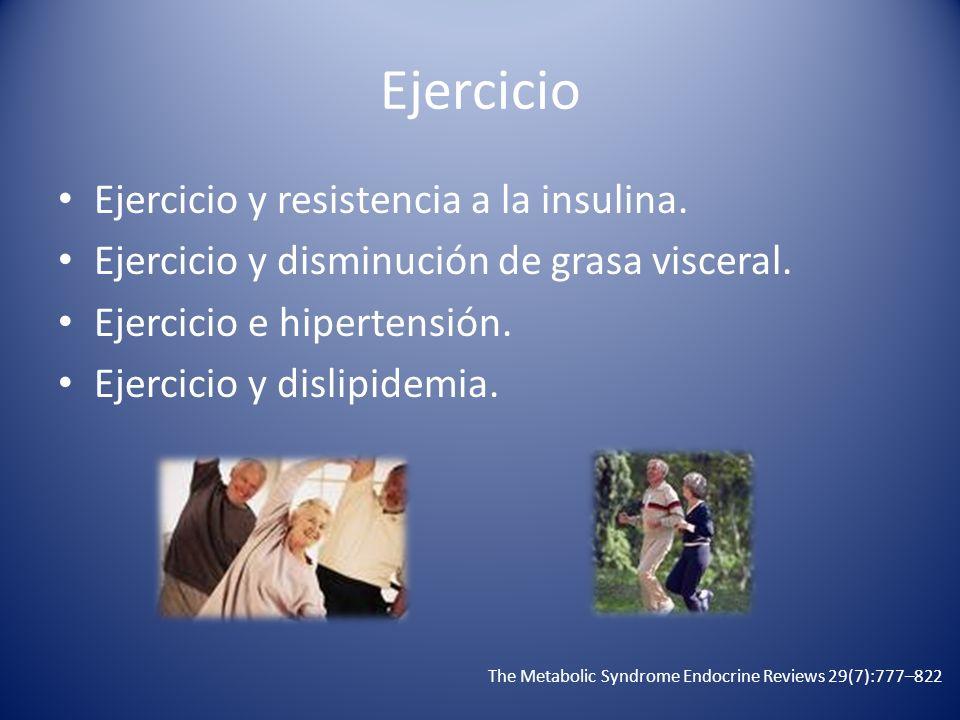 Ejercicio Ejercicio y resistencia a la insulina. Ejercicio y disminución de grasa visceral. Ejercicio e hipertensión. Ejercicio y dislipidemia. The Me
