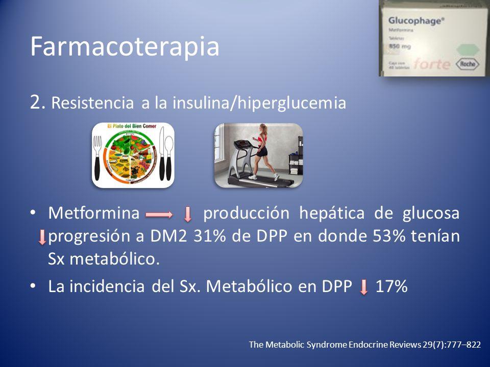 Farmacoterapia 2. Resistencia a la insulina/hiperglucemia Metformina producción hepática de glucosa progresión a DM2 31% de DPP en donde 53% tenían Sx