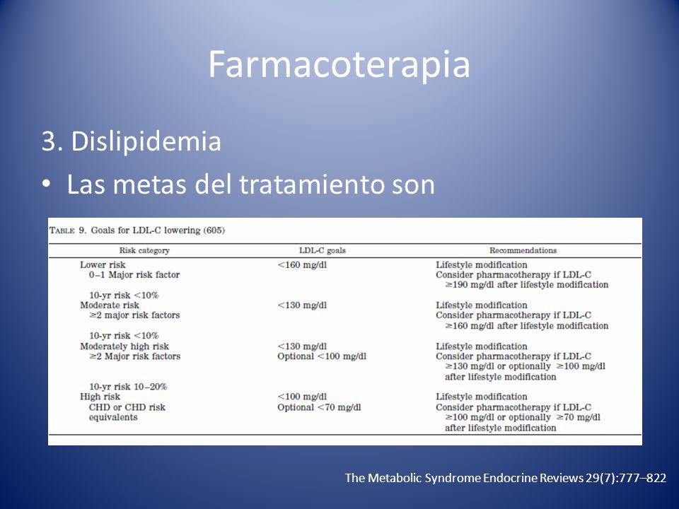 Farmacoterapia 3. Dislipidemia Las metas del tratamiento son The Metabolic Syndrome Endocrine Reviews 29(7):777–822