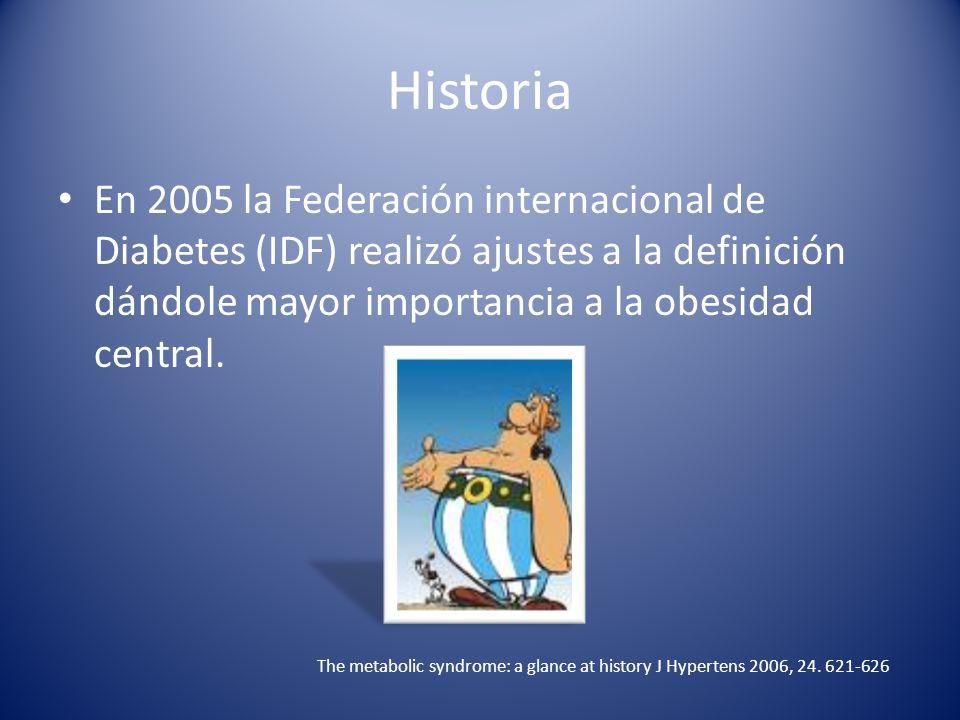 Historia En 2005 la Federación internacional de Diabetes (IDF) realizó ajustes a la definición dándole mayor importancia a la obesidad central. The me