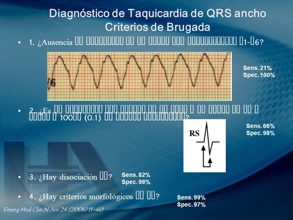 Diagnóstico de Taquicardia de QRS ancho Criterios de Brugada 1. ¿Ausencia de complejos RS en todas las precordiales V 1- V 6? 2. ¿Es el intervalo del