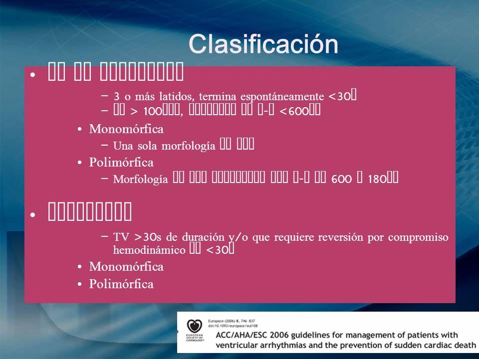 Clasificación TV no sostenida –3 o más latidos, termina espontáneamente <30 s – FC > 100 lpm, longitud de R - R <600 ms Monomórfica – Una sola morfolo