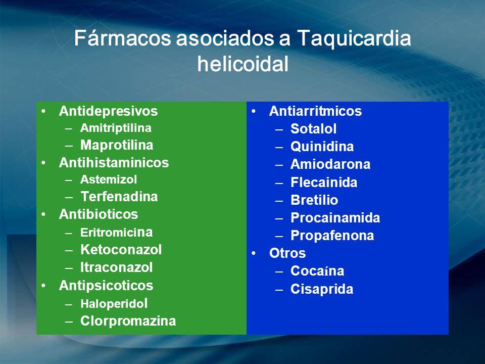 Fármacos asociados a Taquicardia helicoidal Antidepresivos –Amitriptilina –Maprotilina Antihistaminicos –Astemizol –Terfenadina Antibioticos –Eritromi