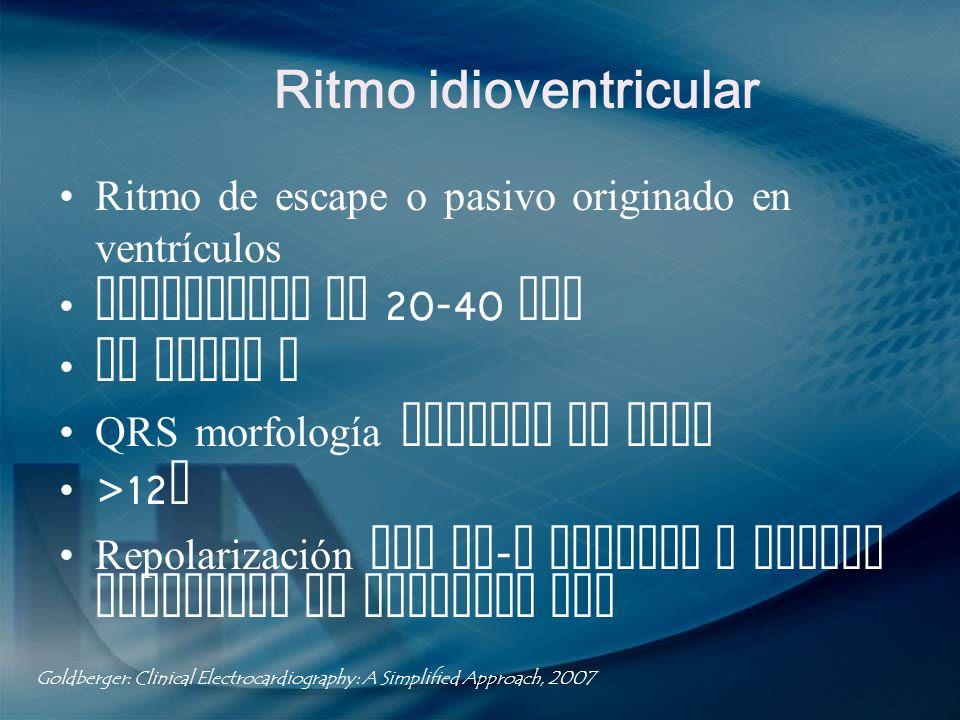 Ritmo idioventricular Ritmo de escape o pasivo originado en ventrículos Frecuencia de 20-40 lpm No ondas P QRS morfología bloqueo de rama >12 s Repola