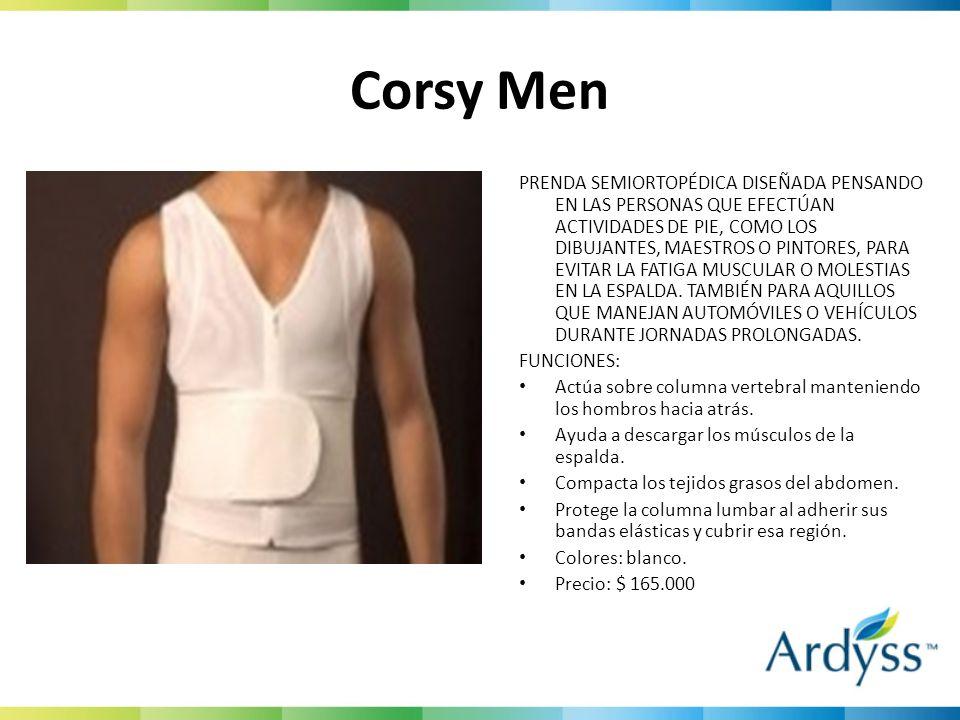 Corsy Men PRENDA SEMIORTOPÉDICA DISEÑADA PENSANDO EN LAS PERSONAS QUE EFECTÚAN ACTIVIDADES DE PIE, COMO LOS DIBUJANTES, MAESTROS O PINTORES, PARA EVIT