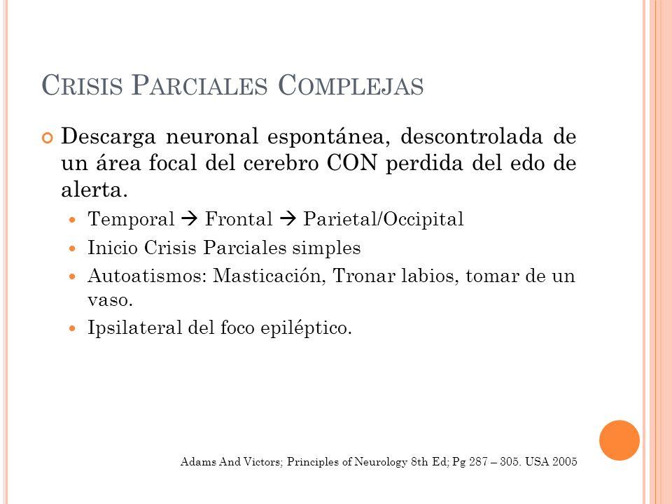 C RISIS P ARCIALES C OMPLEJAS Descarga neuronal espontánea, descontrolada de un área focal del cerebro CON perdida del edo de alerta. Temporal Frontal
