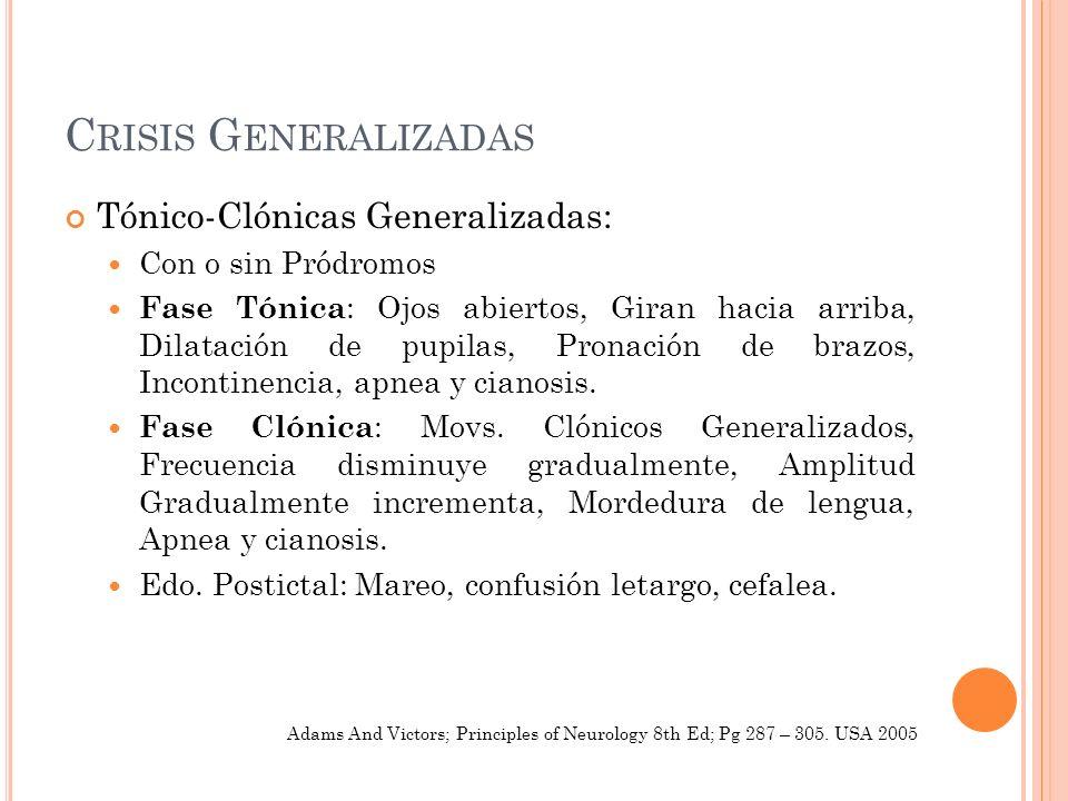 C RISIS G ENERALIZADAS Tónico-Clónicas Generalizadas: Con o sin Pródromos Fase Tónica : Ojos abiertos, Giran hacia arriba, Dilatación de pupilas, Pron