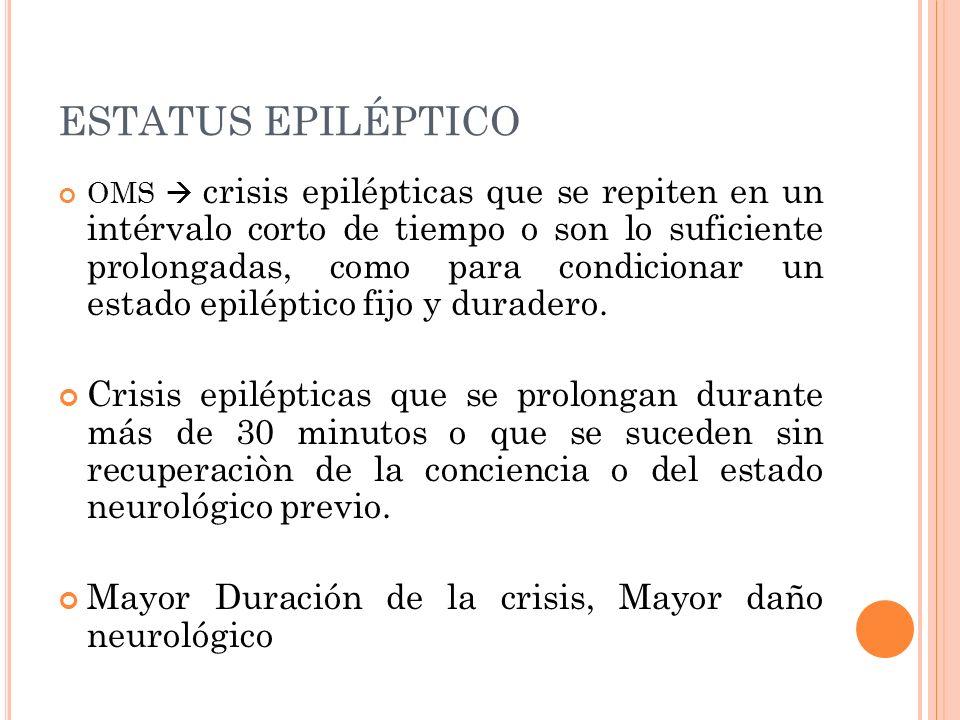 ESTATUS EPILÉPTICO OMS crisis epilépticas que se repiten en un intérvalo corto de tiempo o son lo suficiente prolongadas, como para condicionar un est