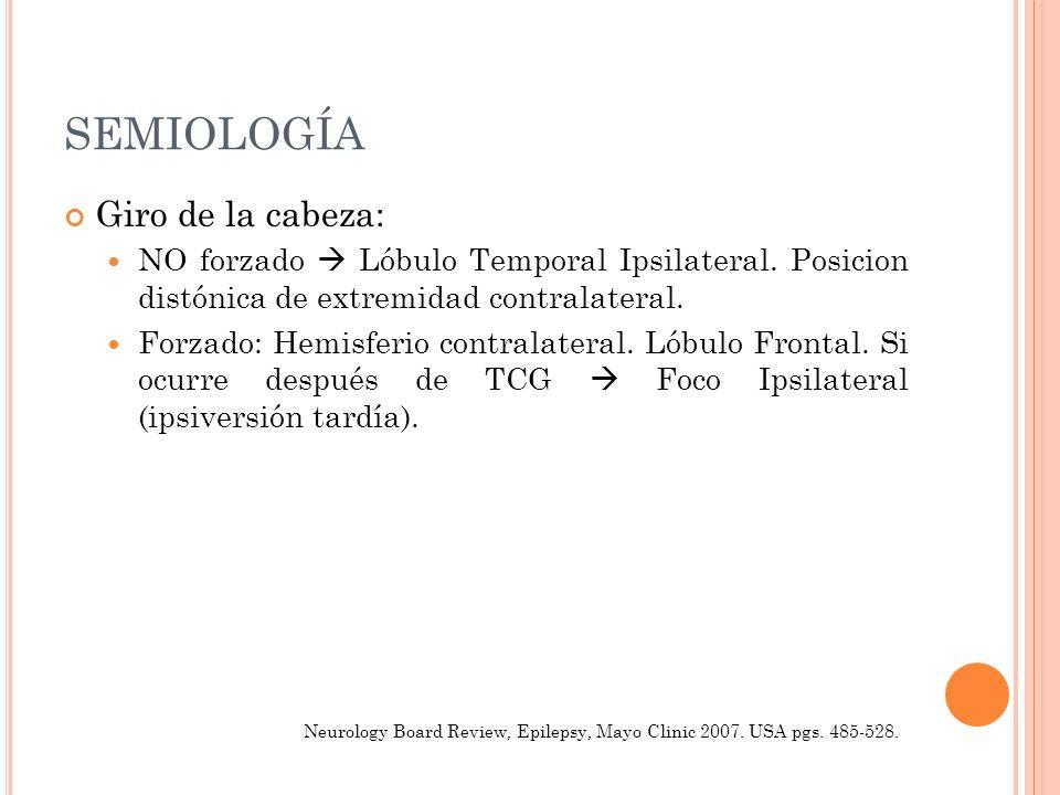 SEMIOLOGÍA Giro de la cabeza: NO forzado Lóbulo Temporal Ipsilateral. Posicion distónica de extremidad contralateral. Forzado: Hemisferio contralatera