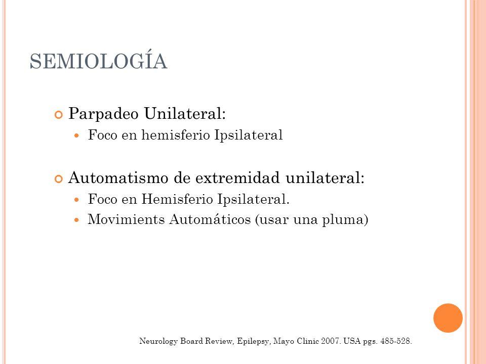 SEMIOLOGÍA Parpadeo Unilateral: Foco en hemisferio Ipsilateral Automatismo de extremidad unilateral: Foco en Hemisferio Ipsilateral. Movimients Automá