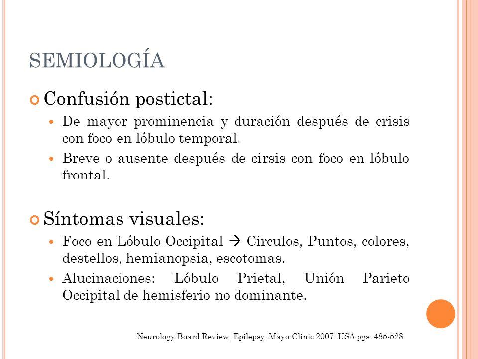 SEMIOLOGÍA Confusión postictal: De mayor prominencia y duración después de crisis con foco en lóbulo temporal. Breve o ausente después de cirsis con f