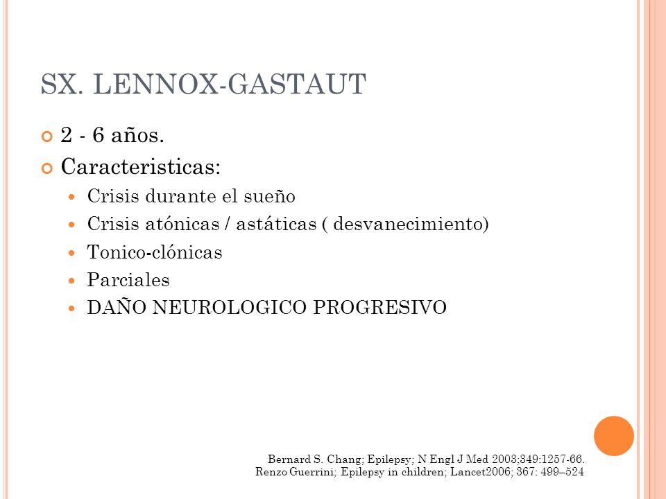 SX. LENNOX-GASTAUT 2 - 6 años. Caracteristicas: Crisis durante el sueño Crisis atónicas / astáticas ( desvanecimiento) Tonico-clónicas Parciales DAÑO