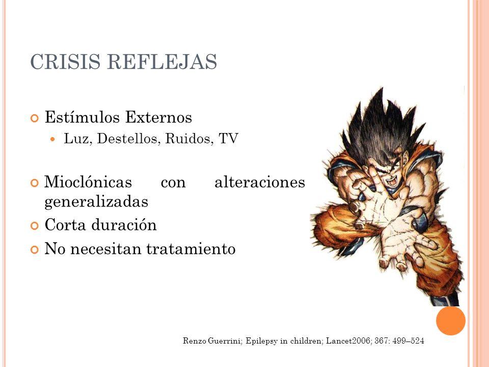 CRISIS REFLEJAS Estímulos Externos Luz, Destellos, Ruidos, TV Mioclónicas con alteraciones generalizadas Corta duración No necesitan tratamiento Renzo
