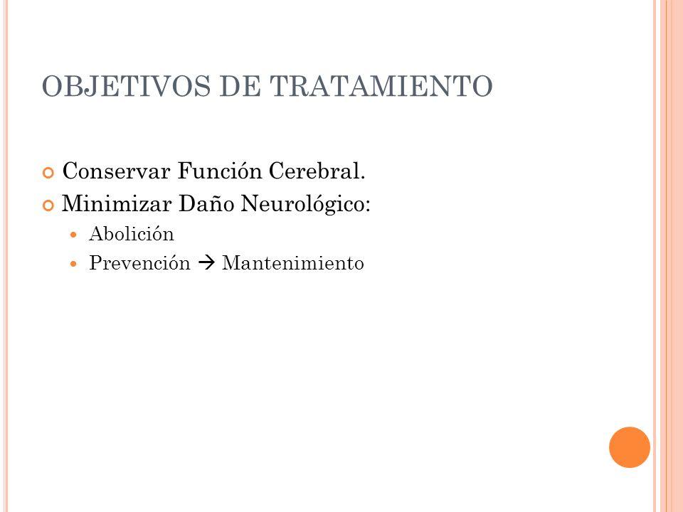 OBJETIVOS DE TRATAMIENTO Conservar Función Cerebral. Minimizar Daño Neurológico: Abolición Prevención Mantenimiento