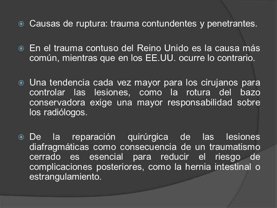 Causas de ruptura: trauma contundentes y penetrantes. En el trauma contuso del Reino Unido es la causa más común, mientras que en los EE.UU. ocurre lo