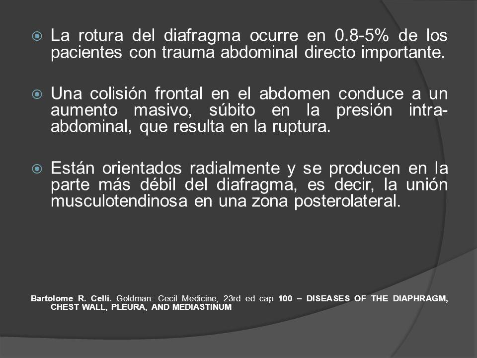 La rotura del diafragma ocurre en 0.8-5% de los pacientes con trauma abdominal directo importante. Una colisión frontal en el abdomen conduce a un aum