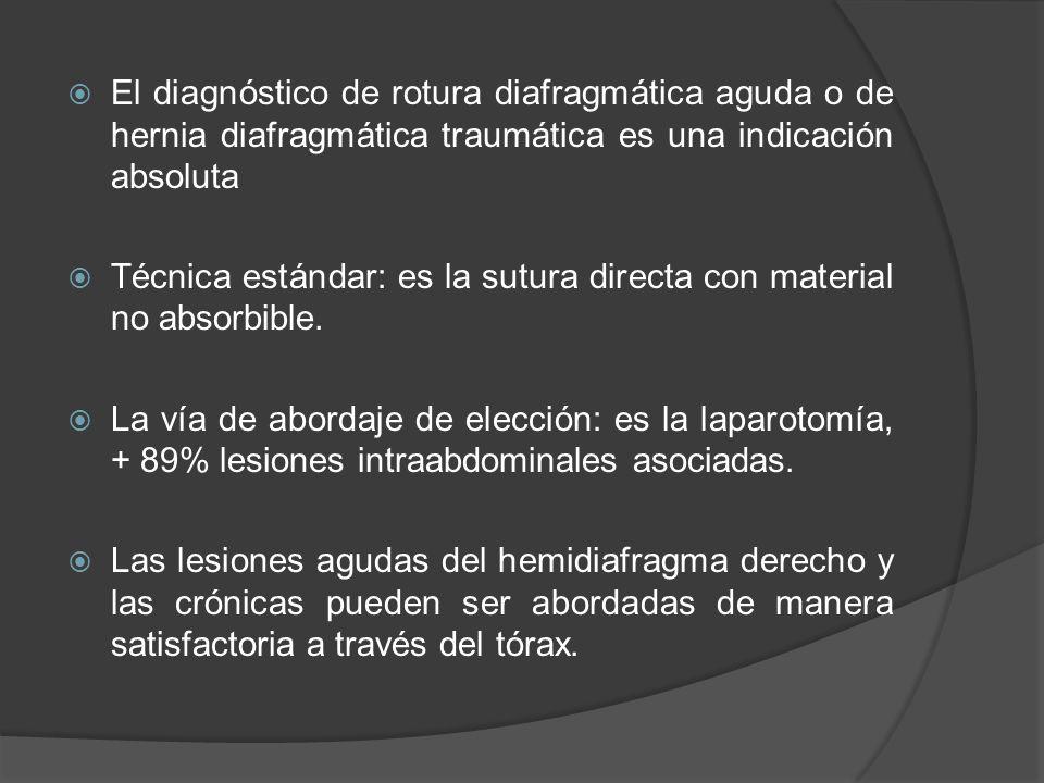 El diagnóstico de rotura diafragmática aguda o de hernia diafragmática traumática es una indicación absoluta Técnica estándar: es la sutura directa co