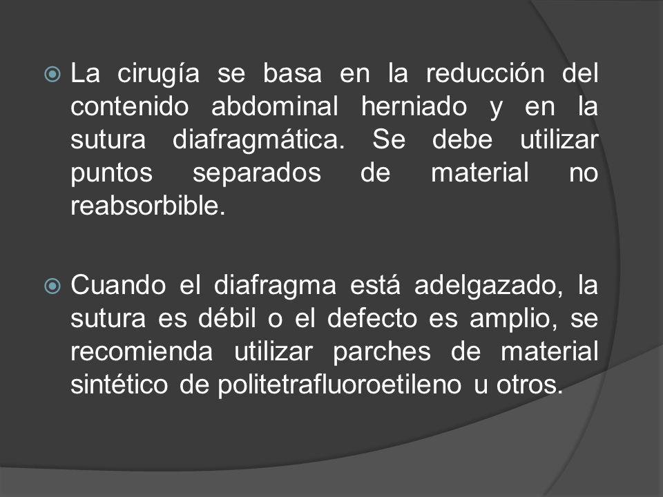 La cirugía se basa en la reducción del contenido abdominal herniado y en la sutura diafragmática. Se debe utilizar puntos separados de material no rea