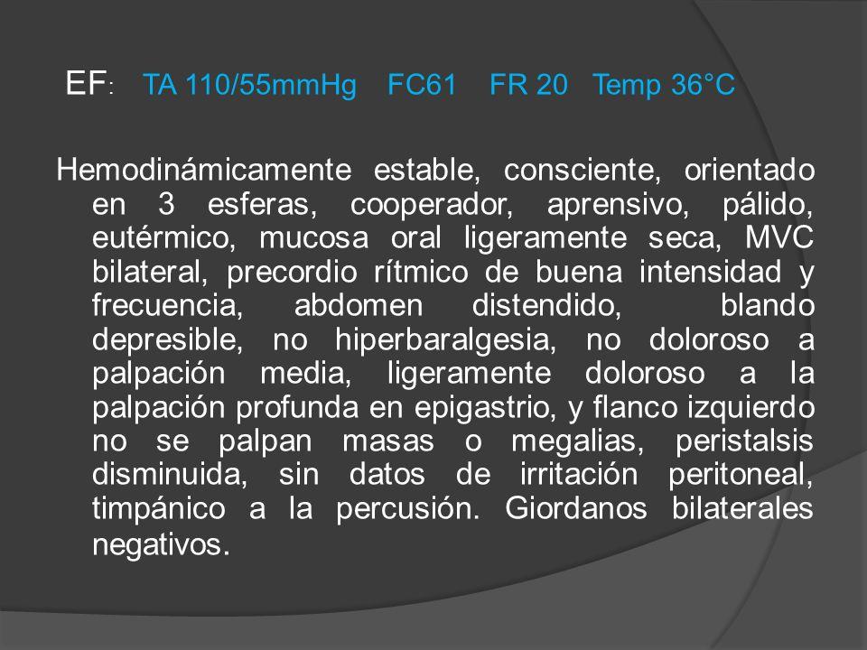 EF : TA 110/55mmHg FC61 FR 20 Temp 36°C Hemodinámicamente estable, consciente, orientado en 3 esferas, cooperador, aprensivo, pálido, eutérmico, mucos