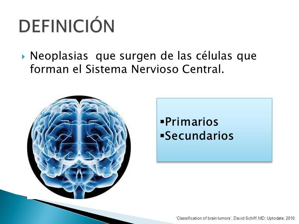 Neoplasias que surgen de las células que forman el Sistema Nervioso Central. Primarios Secundarios Primarios Secundarios Classification of brain tumor