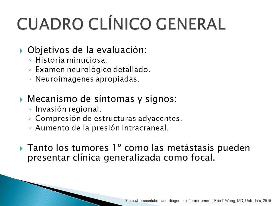 Objetivos de la evaluación: Historia minuciosa. Examen neurológico detallado. Neuroimagenes apropiadas. Mecanismo de síntomas y signos: Invasión regio