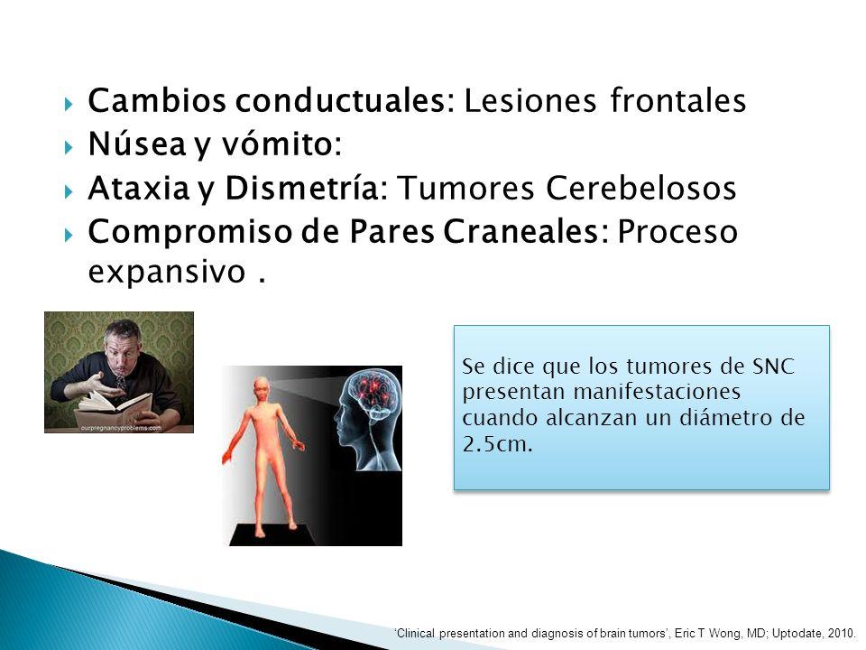 Cambios conductuales: Lesiones frontales Núsea y vómito: Ataxia y Dismetría: Tumores Cerebelosos Compromiso de Pares Craneales: Proceso expansivo. Se
