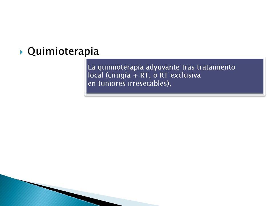 Quimioterapia La quimioterapia adyuvante tras tratamiento local (cirugía + RT, o RT exclusiva en tumores irresecables), La quimioterapia adyuvante tra