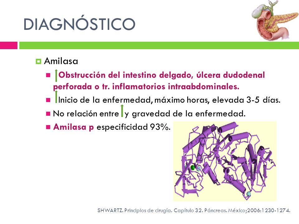 DIAGNÓSTICO Amilasa Obstrucción del intestino delgado, úlcera dudodenal perforada o tr. inflamatorios intraabdominales. Inicio de la enfermedad, máxim