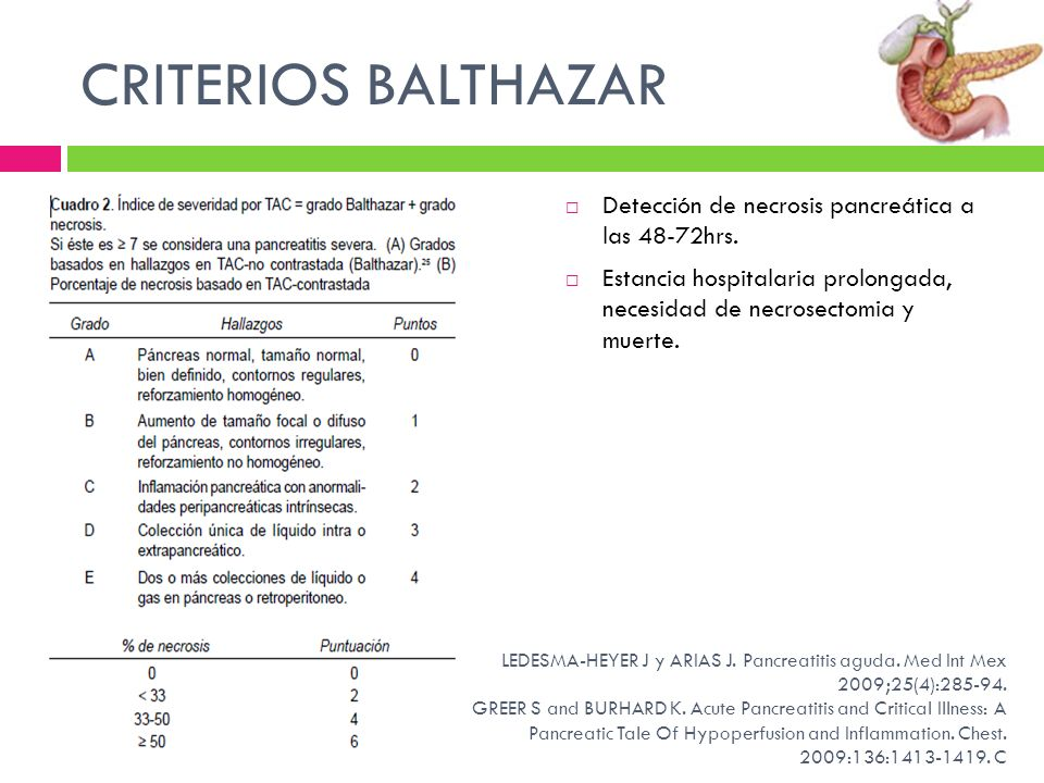 CRITERIOS BALTHAZAR Detección de necrosis pancreática a las 48-72hrs. Estancia hospitalaria prolongada, necesidad de necrosectomia y muerte. LEDESMA-H