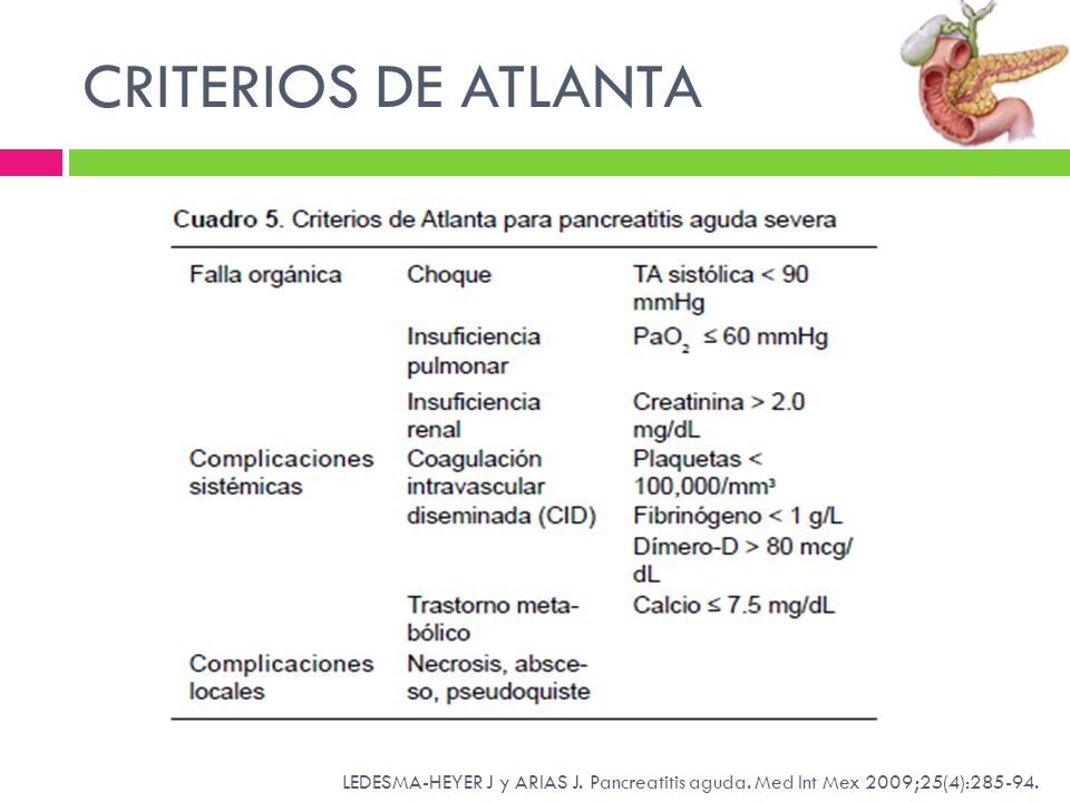 CRITERIOS DE ATLANTA LEDESMA-HEYER J y ARIAS J. Pancreatitis aguda. Med Int Mex 2009;25(4):285-94.