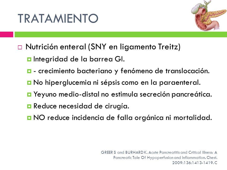TRATAMIENTO Nutrición enteral (SNY en ligamento Treitz) Integridad de la barrea GI. - crecimiento bacteriano y fenómeno de translocación. No hipergluc
