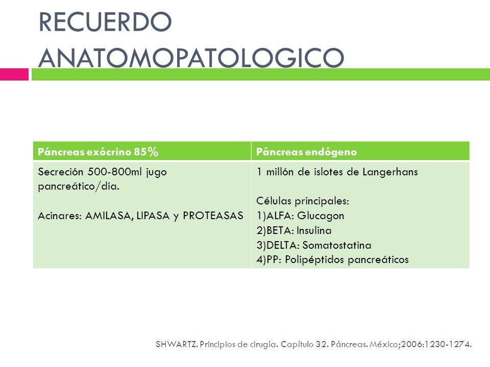 RECUERDO ANATOMOPATOLOGICO Páncreas exócrino 85%Páncreas endógeno Secreción 500-800ml jugo pancreático/día. Acinares: AMILASA, LIPASA y PROTEASAS 1 mi