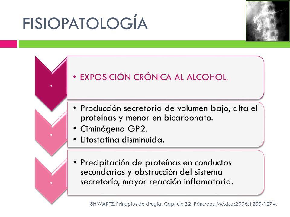 FISIOPATOLOGÍA. EXPOSICIÓN CRÓNICA AL ALCOHOL.. Producción secretoria de volumen bajo, alta el proteínas y menor en bicarbonato. Ciminógeno GP2. Litos