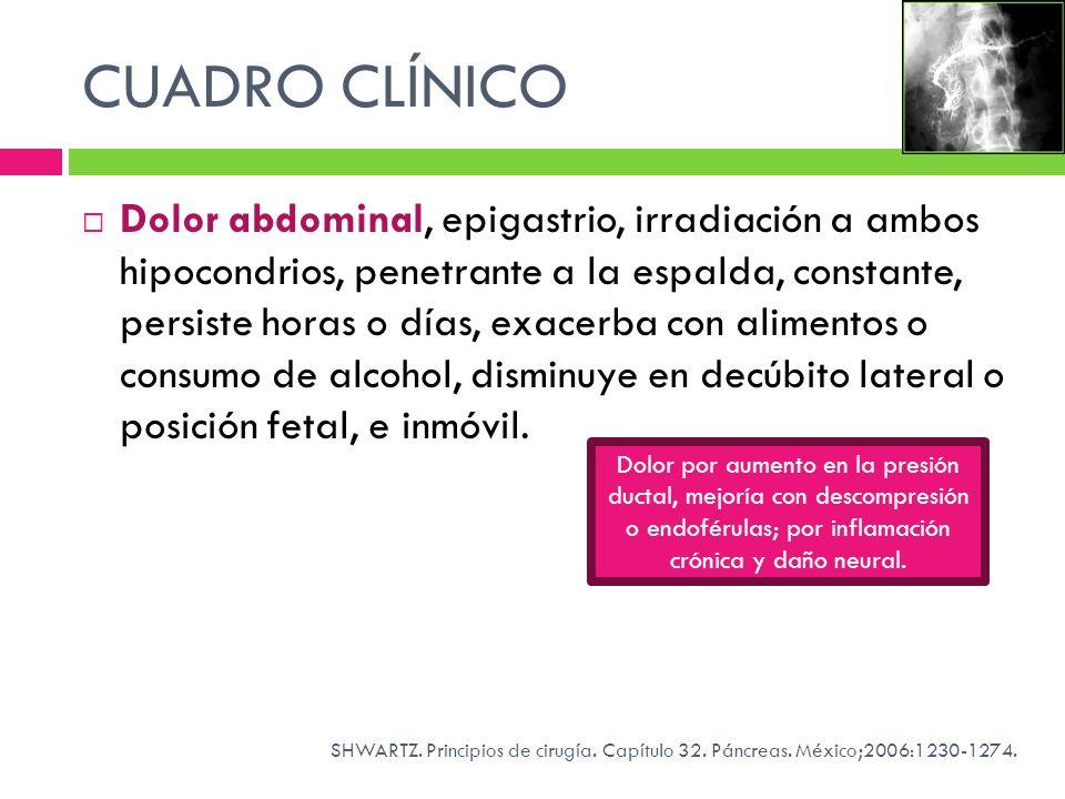 CUADRO CLÍNICO Dolor abdominal, epigastrio, irradiación a ambos hipocondrios, penetrante a la espalda, constante, persiste horas o días, exacerba con