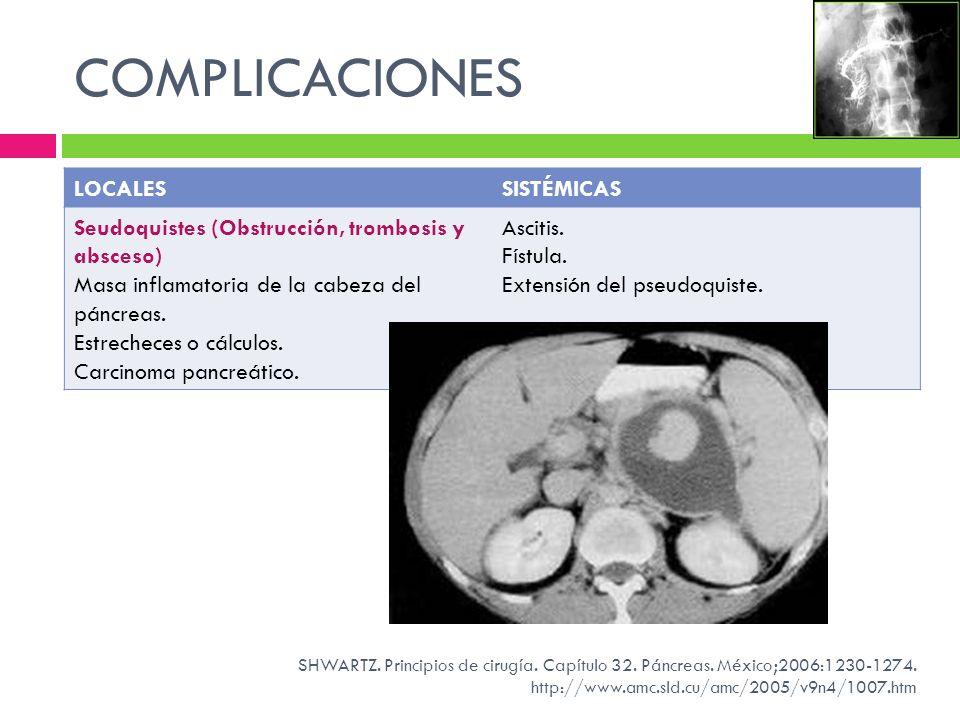 COMPLICACIONES LOCALESSISTÉMICAS Seudoquistes (Obstrucción, trombosis y absceso) Masa inflamatoria de la cabeza del páncreas. Estrecheces o cálculos.