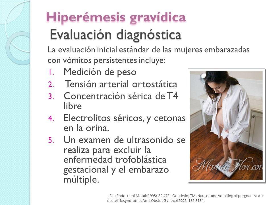 Las náuseas y los vómitos que se desarrollan después de 10 semanas con presencia de síntomas asociados (dolor abdominal, fiebre, dolor de cabeza, el bocio, los hallazgos neurológicos anormales, diarrea, estreñimiento, o hipertensión).