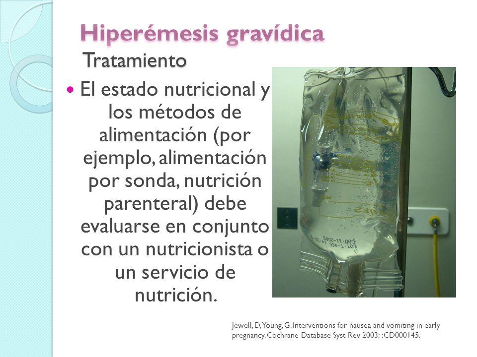 Intervenciones no farmacológicas La piedra angular de la hiperémesis gravídica es evitar desencadenantes ambientales.