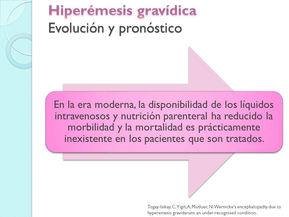 Dos series de población basadas reportó el riesgo de hiperémesis recurrente en un segundo embarazo fue de 15 %.