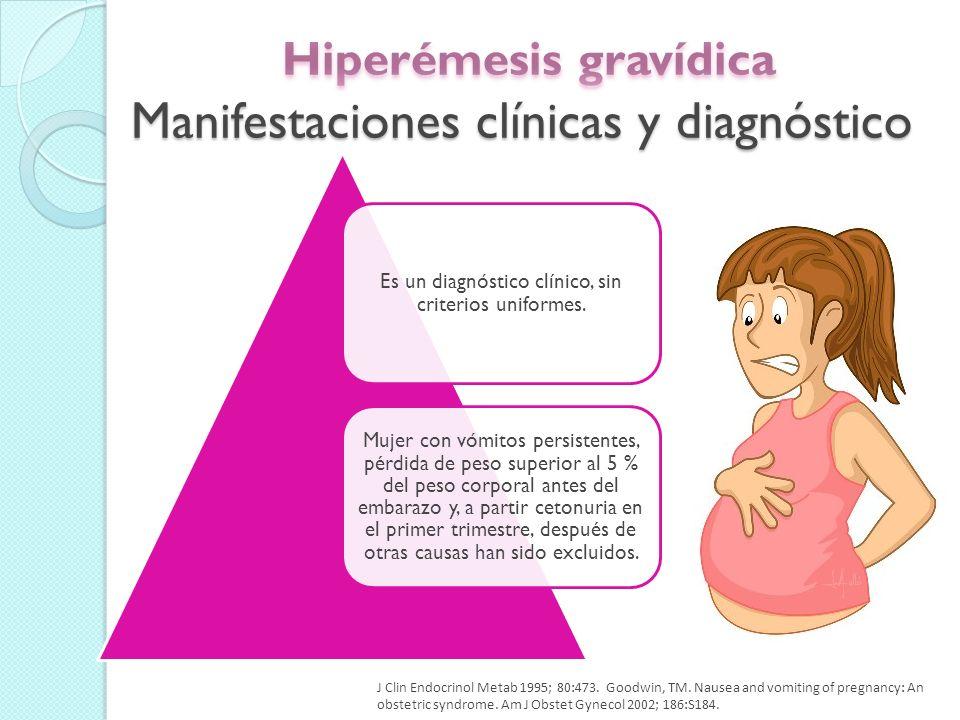 La aparición de los síntomas suele ser de 4 a 10 semanas de gestación.