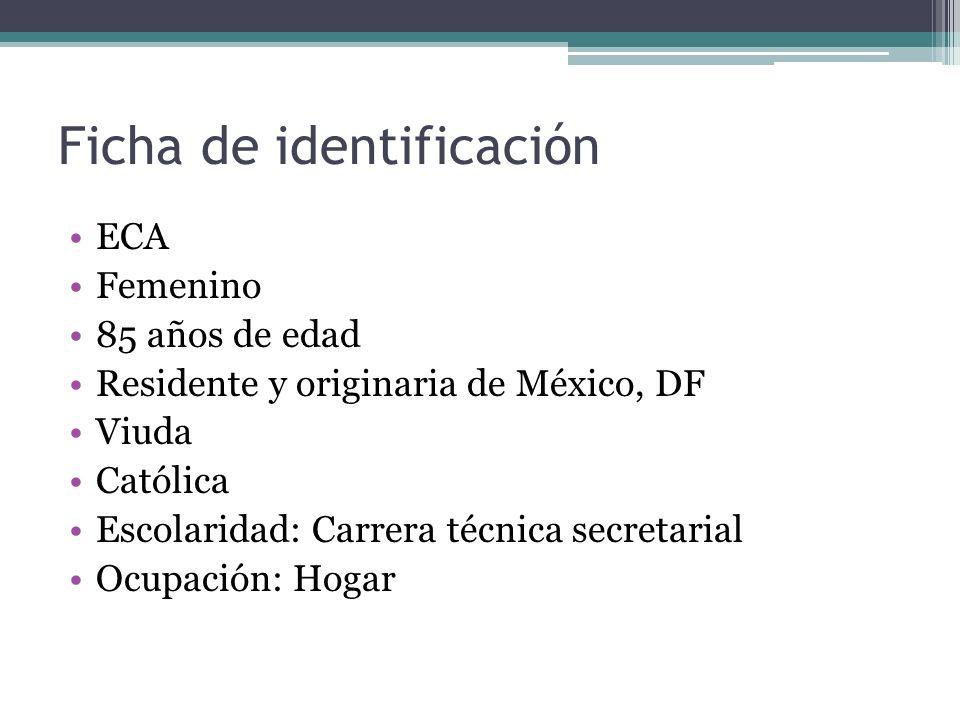 Ficha de identificación ECA Femenino 85 años de edad Residente y originaria de México, DF Viuda Católica Escolaridad: Carrera técnica secretarial Ocup
