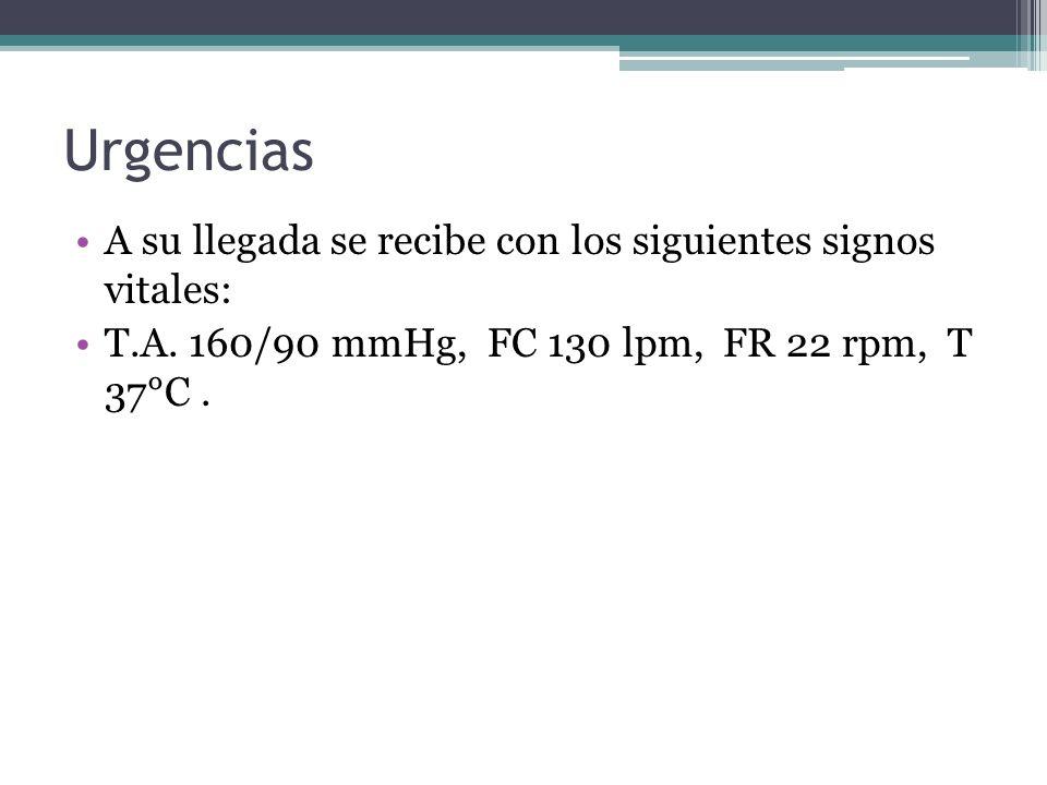 Urgencias A su llegada se recibe con los siguientes signos vitales: T.A. 160/90 mmHg, FC 130 lpm, FR 22 rpm, T 37°C.