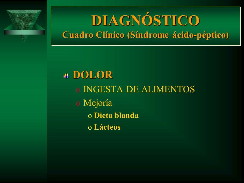 DIAGNÓSTICO Cuadro Clínico (Síndrome ácido-péptico) DOLOR oINGESTA DE ALIMENTOS oDuodenal oPosprandial tardío oGástrica oPosprandial inmediato oNoctur