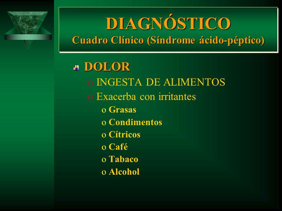 DIAGNÓSTICO Cuadro Clínico (Síndrome ácido-péptico) DOLOR oINGESTA DE ALIMENTOS oMejoría oDieta blanda oLácteos