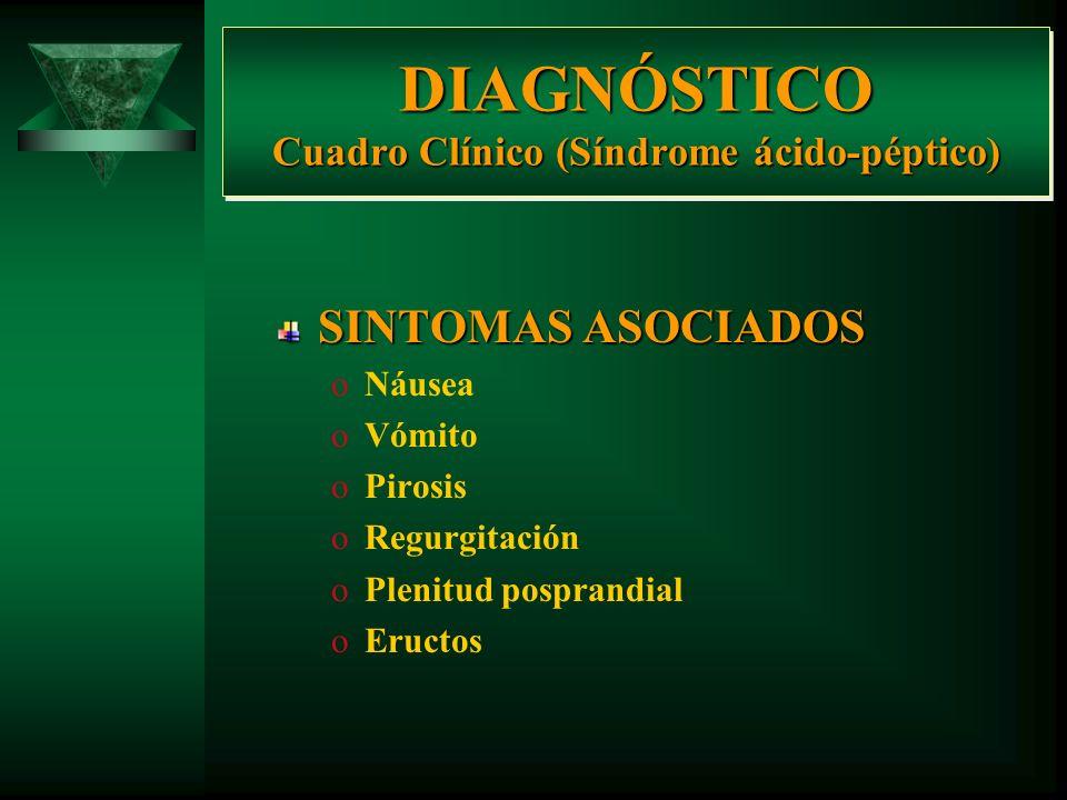 DIAGNÓSTICO Cuadro Clínico (Síndrome ácido-péptico) DOLOR oUlcera duodenal oPeriodicidad (periodos asintomáticos) oFACTORES DESENCADENANTES oTensión e