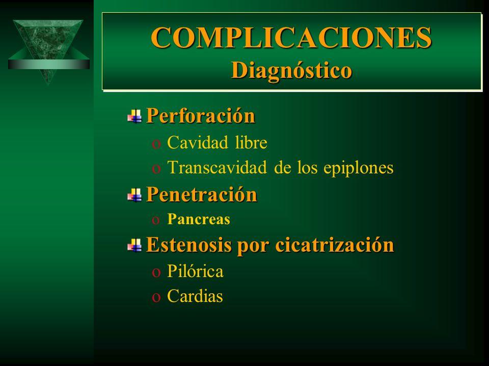 COMPLICACIONES Diagnóstico Sangrado de Tubo Digestivo Alto (H T D A) oHematemesis oEvacuaciones melénicas oAnemia oHipotensión oMuerte